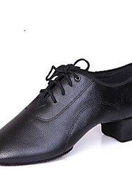 cheap -Latin Men's Dance Shoes Heels Breathable Leather Low Heel Black