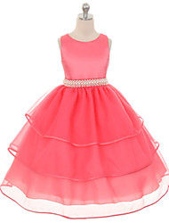 cheap -Girl's Solid Dress, Polyester Summer Sleeveless Dresswear Fuchsia Green Blue Pink Khaki
