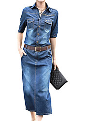 Women's Plus Size Polo Collar with Belt Midi Denim Midi Dress