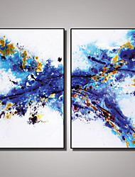 cheap -2 Panels Framed Blue Abstract Painting Picture Print on Canvas with Black Frame Modern Wall Art Ready to Hang