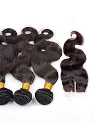 Недорогие -Бразильские волосы Естественные кудри Ткет человеческих волос 4 предмета 0.3