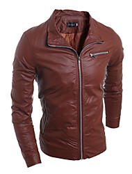 cheap -Men's Fashion Style Zipper Decorative Slim Leather Jacket