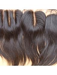 Недорогие -PANSY Прямой Полностью ленточные 100% ручная работа Швейцарское кружево Натуральные волосы Бесплатный Часть Средняя часть 3 Часть