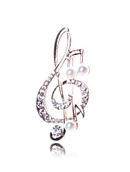 Lucky Doll Gold Plated Diamonade Zirconia Imitation Pearl Note Brooch