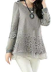 cheap -Women's Lace Patchwork Black/Beige/Gray Blouse,Casual Round Neck Long Sleeve Hollow Out
