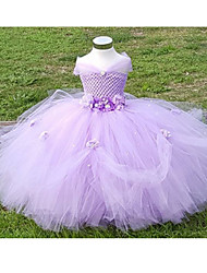 Ball Gown Ankle Length Flower Girl Dress - Polyester Tulle Sleeveless Off-the-shoulder with Flower(s) by LAN TING BRIDE®