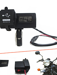 cheap -12V-24V Waterproof Motorcycle Car Dual USB Charger with LED Digital Voltmeter Handbar Mount