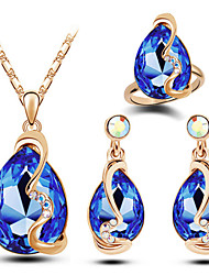 cheap -Women's Crystal Jewelry Set - Austria Crystal Drop Luxury, Fashion Include Blue / Pink / Light Blue For Christmas Gifts Wedding Party / Rings / Earrings / Necklace
