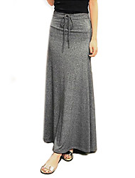 Women's Daily Maxi Skirts,Casual Solid Spring Fall