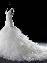Vestito da cerimonia nuziale del tulle del treno della cattedrale del v-collo della sirena / tromba con bordare da lan ting bride®