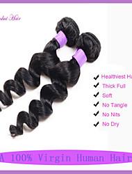 billige -3 Bundler Brasiliansk hår Løst, bølget hår Jomfruhår Menneskehår, Bølget Menneskehår Vævninger Menneskehår Extensions
