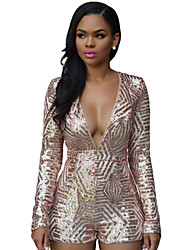 Women's Sequin/Backless Gold Sequin Playsuit