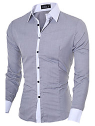 cheap -Men's Business Casual Cotton Slim Shirt - Solid Colored Classic Collar