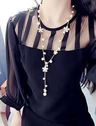 Women's Fashion Sweet Alloy Flowers Pearl Sweater Chain Necklaces 1pc