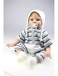 preiswerte -NPK DOLL Lebensechte Puppe Baby 22 Zoll Silikon / Vinyl - lebensecht, Handaufgetragene Wimpern, Künstliche Implantation Blaue Augen