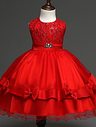 cheap -Girl's Gold / Red Dress , Lace Polyester Spring / Fall