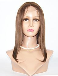 Χαμηλού Κόστους -Φυσικά μαλλιά Πλήρης Δαντέλα Περούκα στυλ Βραζιλιάνικη Ίσιο Περούκα 130% Πυκνότητα μαλλιών 8-12 inch με τα μαλλιά μωρών Φυσική γραμμή των μαλλιών Περούκα αφροαμερικανικό στυλ 100% δεμένη στο χέρι