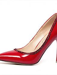 baratos -Mulheres Sapatos Courino Conforto Salto Agulha Preto / Roxo / Vermelho