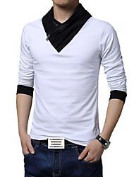 Herren T-shirt-Einfarbig Freizeit / Büro / Sport / Übergröße Baumwolle / Polyester Lang-Schwarz / Weiß / Grau