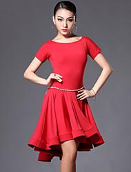 preiswerte -Latintanz Samba-Kleider(Schwarz Rot Leopard Muster,Elastan Polyester,Latintanz Samba) - fürDamen Kleid Kurze Hosen