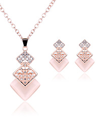 cheap -Women's Cubic Zirconia / Rhinestone / Rose Gold Plated Cute Jewelry Set Earrings / Necklace - Party / Bridal / Elegant Geometric Gold
