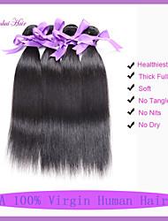 billige -3 Bundler Indisk hår Lige / Klassisk Jomfruhår Menneskehår, Bølget Menneskehår Vævninger Menneskehår Extensions / Ret