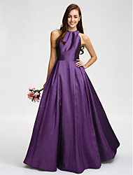 cheap -A-Line Jewel Neck Floor Length Taffeta Bridesmaid Dress with Sash / Ribbon by LAN TING BRIDE®