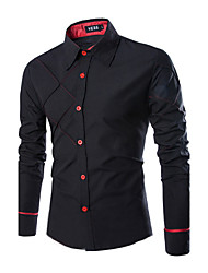 Men's Casual Pure Long Sleeve Regular Shirts