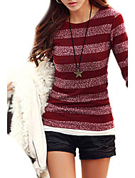 cheap -Women's Long Sleeved Striped Autumn and Winter Knit Bottom Shirt