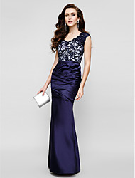 cheap -Mermaid / Trumpet Strapless Floor Length Lace Satin Formal Evening Dress with Lace Side Draping by TS Couture®