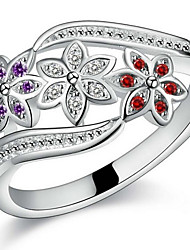 cheap -Women's Couple Rings / Statement Ring / Open Cuff Ring - Sterling Silver, Zircon Flower, Love Bridal 7 / 8 / 9 Silver For Christmas Gifts / Wedding / Party
