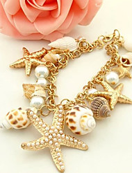 Korean Starfish And Conch Multielement Shell Bracelet