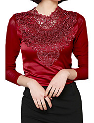 cheap -Spring Plus Sizes Gauze Splice Lace V Neck Long Sleeve Solid Color OL Shirt Casual Blouse Tops