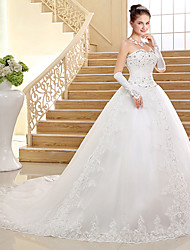 cheap -Ball Gown Sweetheart Cathedral Train Lace Tulle Wedding Dress with Beading Sequin Appliques Bow by QQC Bridal