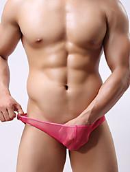 abordables -Hombre Normal Microelástico Un Color Medio Boxer Slip, Poliéster 1pc Blanco Negro Fucsia