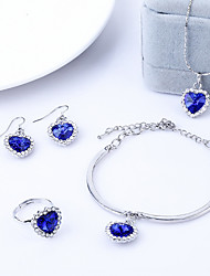 cheap -4pcs Jewelry Set Shining Crystal Heart Pendant Necklace Earring Ring Bracelet(Assorted Color)