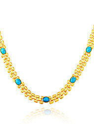 cheap -Women's Chain Necklace Agate Gold Plated Emerald Turquoise Chain Necklace , Christmas Gifts Wedding Party Thank You Gift Daily Casual
