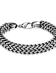 Maya Fashion Generous Flat Wave Style Men Stainless Steel Chain & Link Bracelets(Black)(1Pcs)