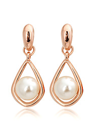 cheap -Women's Pearl Imitation Pearl Cubic Zirconia Drop Earrings - Simple Style For