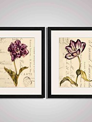 cheap -Framed Purple Flower Painting Modern Canvas Print Art for Office, Kitchen, Living room Decoration Set of 2 Ready To Hang