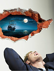 cheap -Fantasy Sea Ocean Night Moon Cruises Ship 3D Landscape Painting Window View Wall Sticker Home Decals For Office