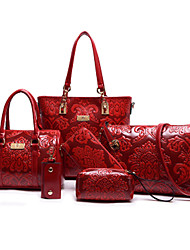 cheap -Women Bags PU Bag Set 6 Pieces Purse Set for Shopping Casual Formal Office & Career All Seasons Beige Red Blue