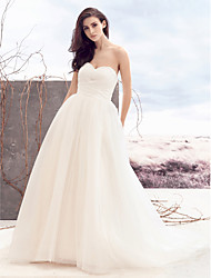 cheap -A-Line Sweetheart Court Train Tulle Custom Wedding Dresses with Beading Criss-Cross by LAN TING BRIDE®