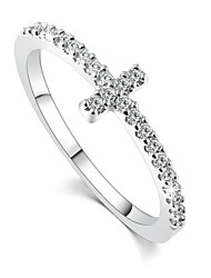 Cross silver plated rings Fashion Jewelry free shipping rose gold plated crystal vintage wedding ring for women