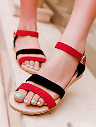 abordables -Femme Chaussures Daim Printemps Eté Hauteur de semelle compensée Combinaison pour De plein air Habillé Noir Violet Noir / Rouge