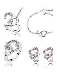 cheap -Women's Crystal Jewelry Set - Crystal Heart Include Purple / Blue / Pink For Wedding Party Daily / Rings / Earrings / Necklace / Bracelets & Bangles