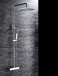 Moderne Système de douche Douche pluie Douchette inclue Thermostatique with  Soupape céramique 3 trous Deux poignées trois trous for