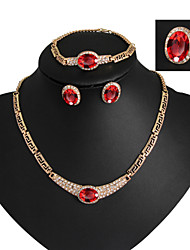 cheap -Crystal Tassel Jewelry Set - 18K Gold Plated, Imitation Diamond Luxury, Party, Link / Chain Include Red / Blue For Party Special Occasion Anniversary