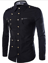 cheap -Men's Military Cotton Slim Shirt - Solid Colored Basic Classic Collar / Long Sleeve