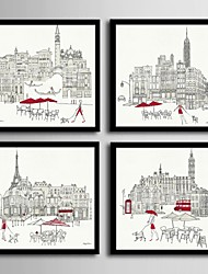 cheap -Framed Canvas Framed Set - Architecture PVC Illustration